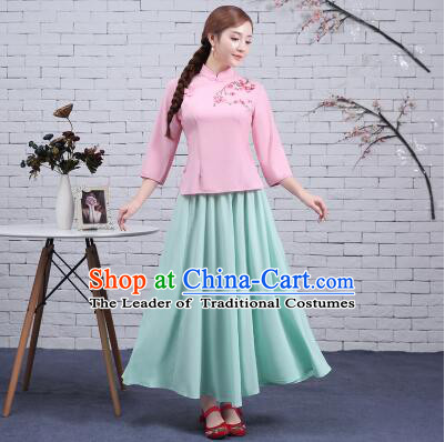 Chinese Min Guo Time Girl Dress Traditional Clothes  Female Women Clothing Stage Costumes