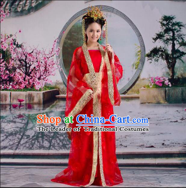 Tang Suit Princess Chinese Traditional Costumes Classic Fairy Stage Show Clothes Red