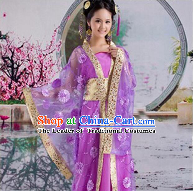 Tang Suit Princess Chinese Traditional Costumes Classic Fairy Stage Show Clothes Purple
