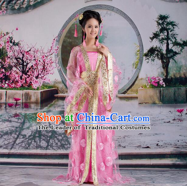 Tang Suit Princess Chinese Traditional Costumes Classic Fairy Stage Show Clothes Pink