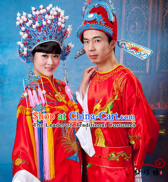 Traditional Chinese Wedding Dress Bride Groom Men Women Ancient Chinese Princess Prince Phoenix Coronet Shawl Zhuang Yuan Headwearing