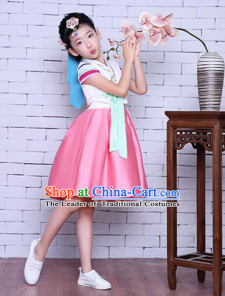 Korean Children Dress Traditional Girl Clothes Princess Stage Show Costumes Kids Formal Attire Dancing White Top Pink Skirt