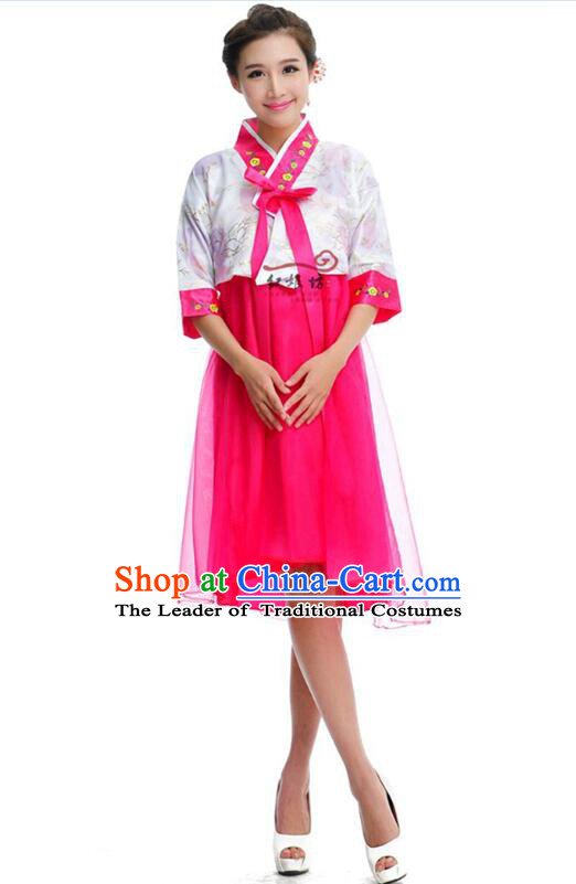 Women Shirt Skirt Korean Clothes Show Costume Shirt Sleeves Korean Traditional Dress Dae Jang Geum White Top Rose Red Skirt