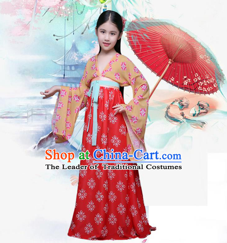 Ancient Chinese Palace Costumes Complete Set, Traditional Han Dynasty Ancient Palace Ru Skirt, Children Clothing, Cosplay Hanfu Fairy Princess Dress Suits for Kids