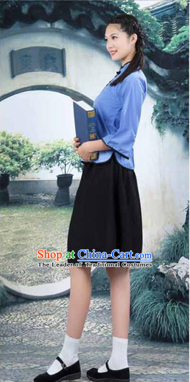 Traditional Chinese Costumes Complete Set, Qing Dynasty Ancient Skirt,  Republic of China National Female Costume, Students Clothing for Women