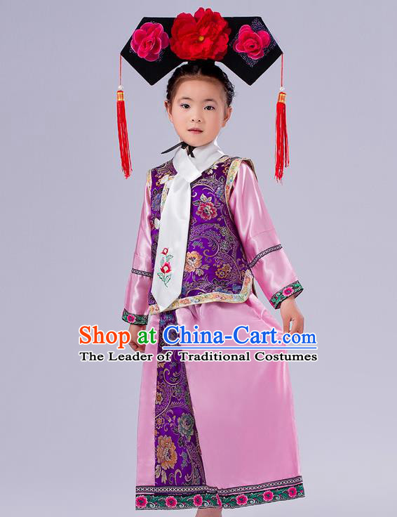 Ancient Chinese Palace Costumes Complete Set, Traditional Qing Dynasty Ancient Princess Skirt, Manchu Children Clothing, Cosplay Manchu Princess Dress Suits for Kids