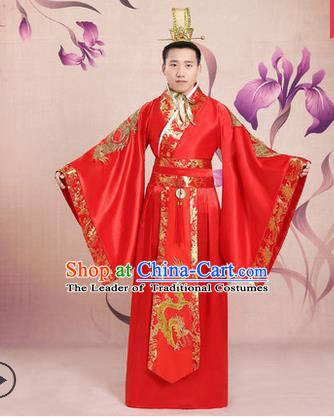 Ancient Chinese Palace Emperor Costumes Complete Set, Tang Dynasty Ancient Palace Majesty Wedding Clothing, Imperial King Robe Suits for Men