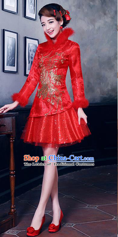 Ancient Chinese Costumes, Manchu Clothing, Hotel Etiquette Improved Cheongsam, Traditional Red Cheongsam Wedding Toast Dress for Bride