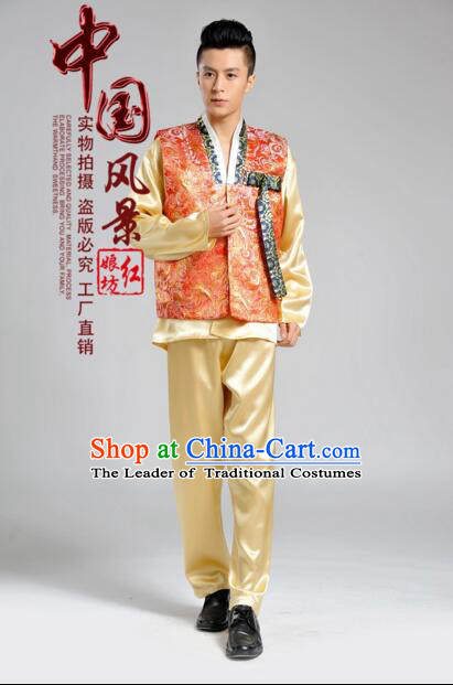 Korean Traditional Formal Dress Set Men Clothes Traditional Korean Traditional Costumes Full Dress Formal Attire Ceremonial Dress Court Orange Top Yellow Pants