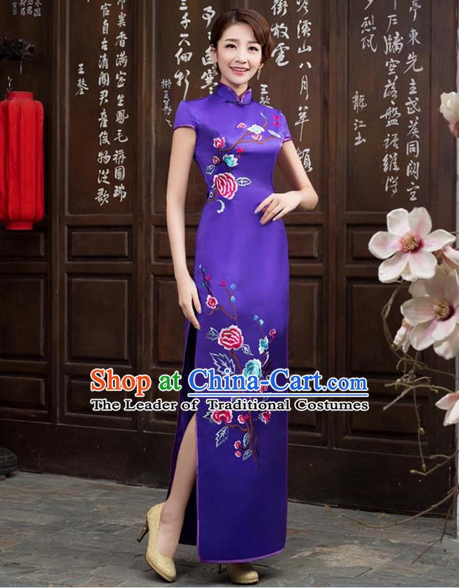 Ancient Chinese Costumes, Manchu Clothing Qipao, Improved Long Silk Mandarin Collar Embroidered Cheongsam, Traditional Cheongsam Wedding Toast Dress for Bride