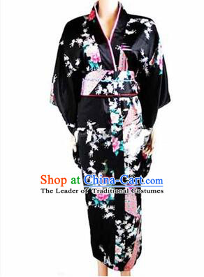 Japanese Traditional Kimono Costumes Women Dress COSPLAY Japanese Traditional Garment Wedding Dress Ceremonial Wafuku Stage Show Black