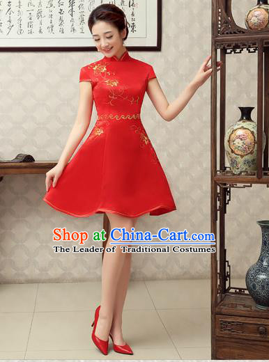 Ancient Chinese Costumes, Manchu Clothing Qipao, Hotel Etiquette Improved Short Cheongsam, Traditional Red Cheongsam Wedding Toast Dress for Bride