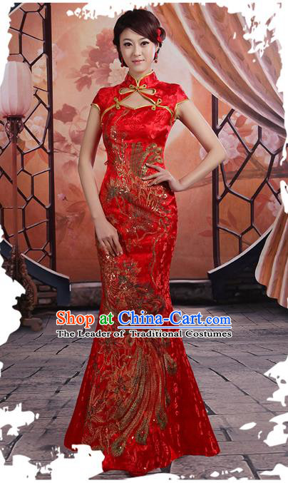 Ancient Chinese Costumes, Manchu Clothing Qipao, Hotel Etiquette Improved Cheongsam, Traditional Red Fish Tail Cheongsam Wedding Toast Dress for Bride