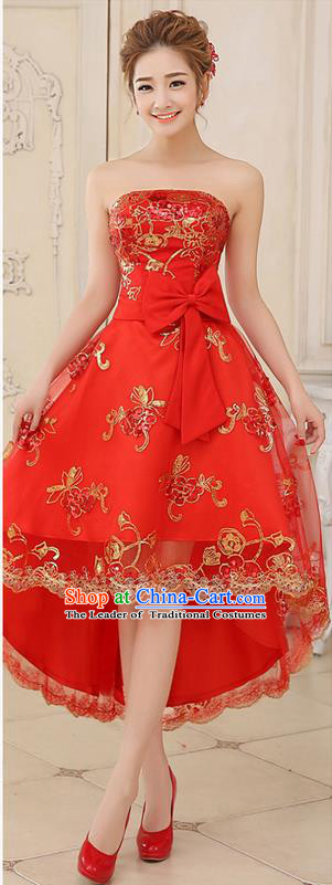 Ancient Chinese Costumes, Manchu Clothing Qipao, Hotel Etiquette Improved Short Cheongsam, Traditional Red Fish Tail Cheongsam Wedding Toast Dress for Bride