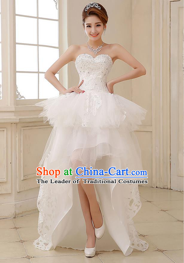 Traditional Chinese Bride Strapless Wedding Dress, Short Wedding Dress for Women