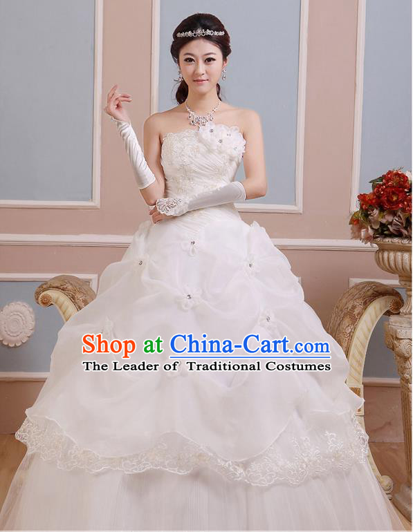 Traditional Chinese Large Size Bride Strapless Wedding Dress, Floor Length Wedding Dress for Women