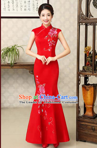 Ancient Chinese Costumes, Manchu Clothing Qipao, Retro Mandarin Collar Embroidered Long Silk Cheongsam, Traditional Fish Tail Red Cheongsam Wedding Toast Dress for Bride