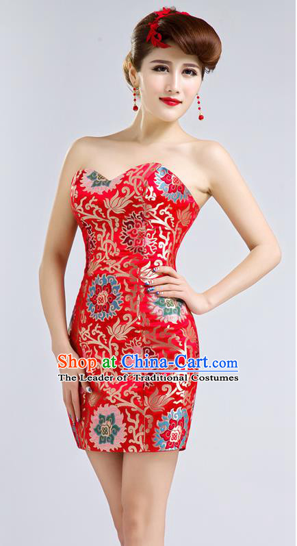 Ancient Chinese Costumes, Manchu Clothing Qipao, Improved Short Silk Cheongsam, Traditional Red Cheongsam Wedding Toast Dress for Bride