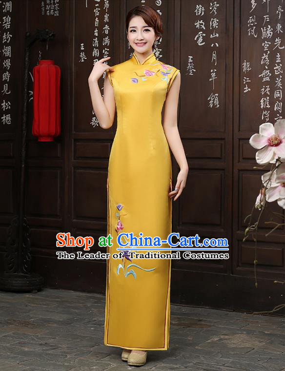 Ancient Chinese Costumes, Manchu Clothing Qipao, Retro Mandarin Collar Embroidered Silk Long Cheongsam, Traditional Cheongsam Wedding Toast Dress for Bride