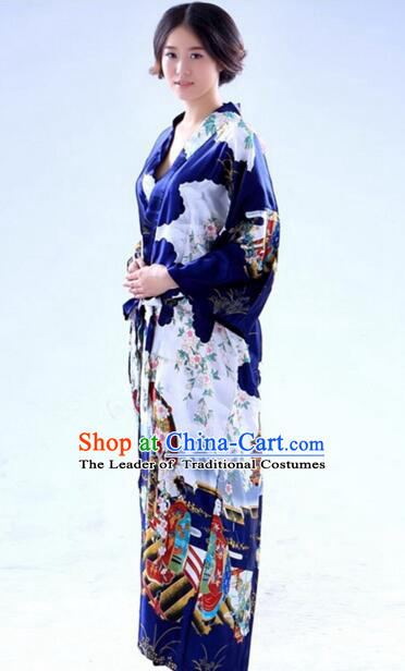 Kimono Japanese Tomesode Traditional Clothes Wafuku Stage Show Aristolochia ringens Dark Blue