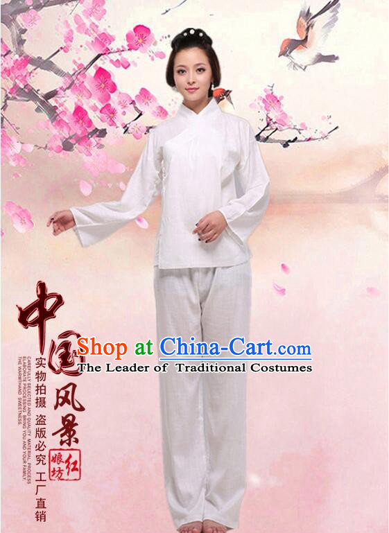 Chinese Zhong Yi triung qioi Ancient Clothes Inner Under Clothes Robe Pants Men Women Sleeping Exercise Costume  White