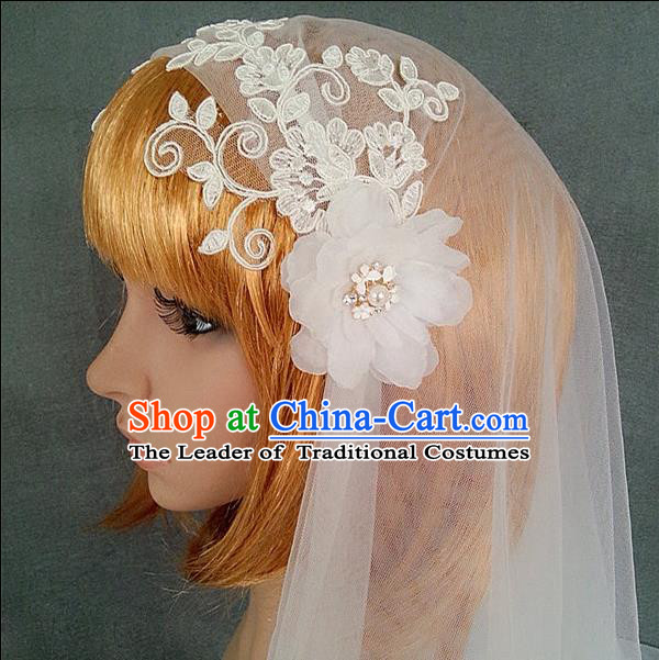 Chinese Wedding Jewelry Accessories, Traditional Bride Headwear, Wedding Tiaras, Imperial Bridal Wedding Lace Veil Hair Clasp