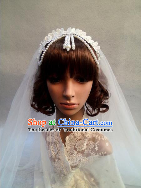 Chinese Wedding Jewelry Accessories, Traditional Bride Headwear, Wedding Tiaras, Imperial Bridal Wedding Lace Bowknot Pearl Veil Hair Clasp