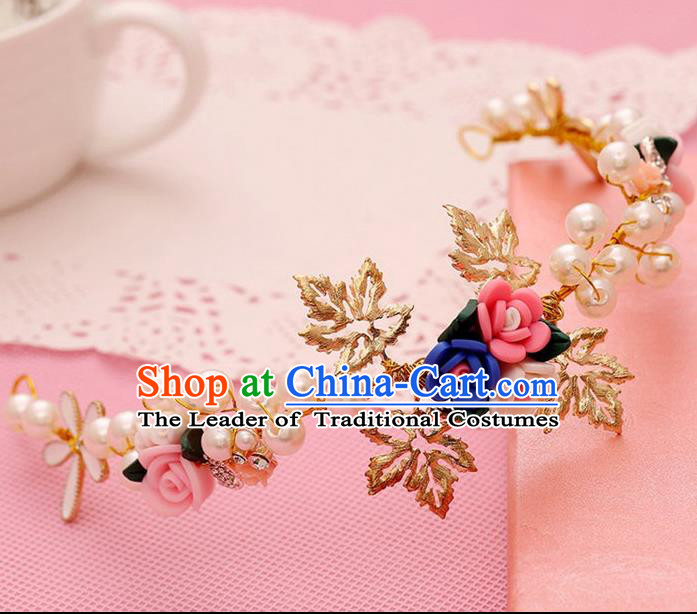 Chinese Wedding Jewelry Accessories, Traditional Bride Headwear, Wedding Tiaras, Imperial Bridal Baroco Style Wedding Pearl Royal Crown Hair Clasp