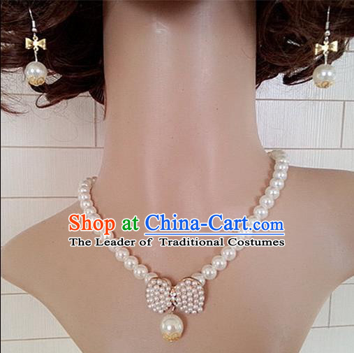 Chinese Wedding Jewelry Accessories, Traditional Bride Nceklace, Princess Wedding Necklet, Imperial Bridal Baroco Style Wedding Pearl Collar, Collarbone Chain