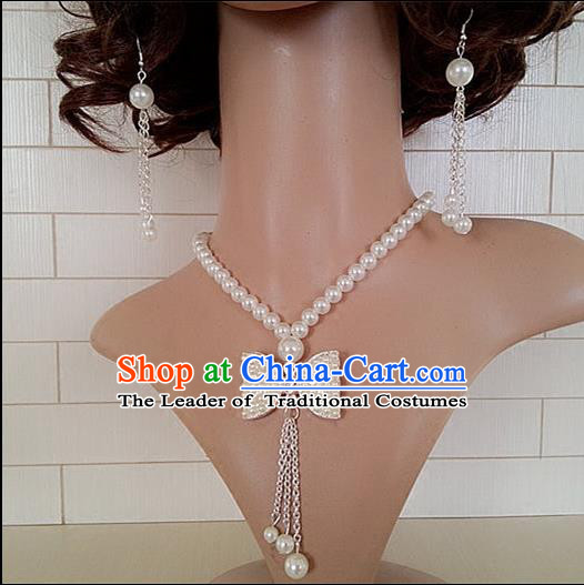 Chinese Wedding Jewelry Accessories, Traditional Bride Nceklace, Princess Wedding Necklet, Imperial Bridal Baroco Style Wedding Pearl Bowknot Collar, Collarbone Chain