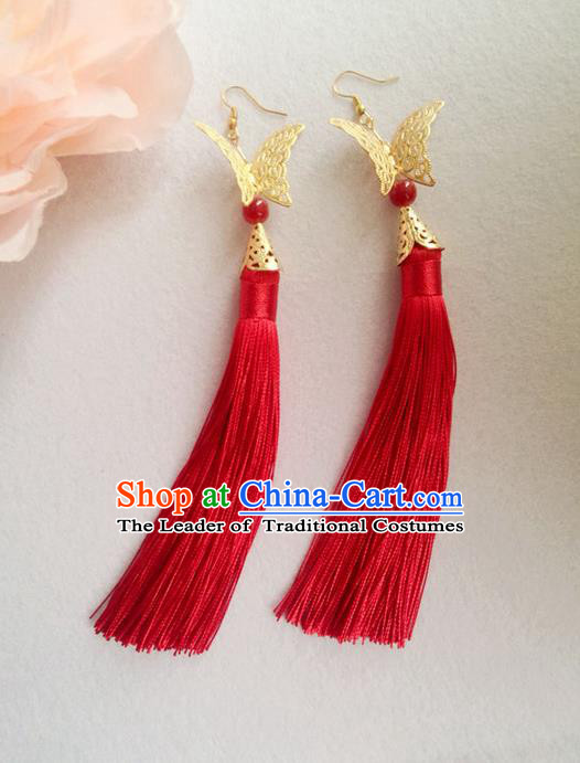 Chinese Wedding Jewelry Accessories, Traditional Xiuhe Suits Wedding Bride Earrings, Ancient Chinese Red Tassel Butterfly Earrings