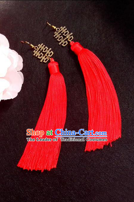Chinese Wedding Jewelry Accessories, Traditional Xiuhe Suits Wedding Bride Earrings, Ancient Chinese Red Tassel Flowers Earrings
