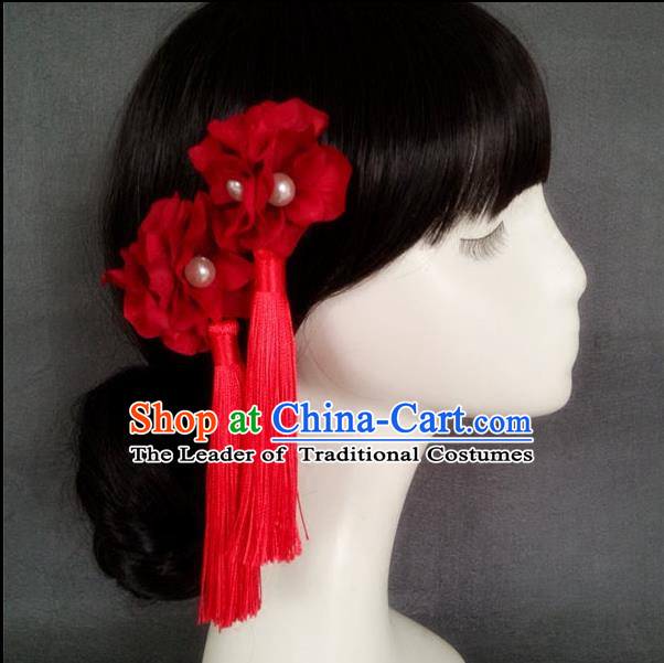 Chinese Wedding Jewelry Accessories, Traditional Xiuhe Suits Wedding Bride Headwear, Wedding Tiaras, Ancient Chinese Tassel Harpins, Bridal Hair Accessory