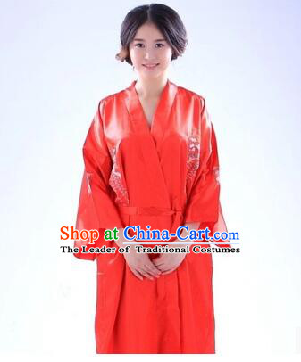 Kimono Japanese Traditional Clothes Stage Show Wafuku Aristolochia ringens Tomesode Red