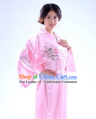 Kimono Japanese Traditional Clothes Stage Show Wafuku Aristolochia ringens Tomesode Pink