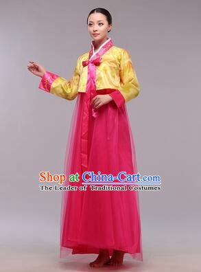 Korean Traditional Dress Women Clothes Show Costumes Korean Traditional Dress Show Stage Dancing Long Skirt Yellow Top Red Skirt