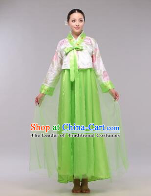 Korean Traditional Dress Women Clothes Show Costumes Korean Traditional Dress Show Stage Dancing Long Skirt White Top Green Skirt