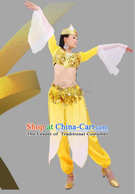 Traditional Indian Dancing Costume, Folk Dance Ethnic Costume, Chinese Xinjiang Nationality Dancing Costumes, Belly Dance Cloth for Women