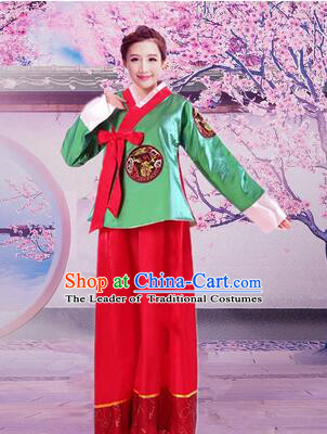 Korean Traditional Dress Women Girl Dancing Stage Ceremonial Dress Green Top Red Skirt