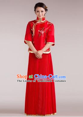 Min Guo Girl Dress Chinese Traditional Costume Stage Show Ceremonial Dress Red