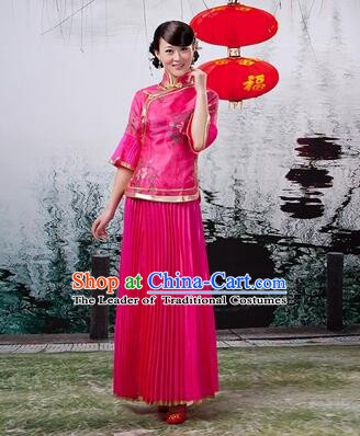 Min Guo Girl Dress Chinese Traditional Costume Stage Show Ceremonial Dress Rose Red