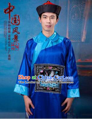 Qing Dynasty Men Costume Official Clothes Imperial Palace Royal Family Member Chieftain Clothing and Hat Blue