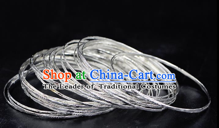 Traditional Chinese Miao Ethnic Minority Bracelet Miao Ethnic Silver Jewelry Accessories 30 Set Bracelet
