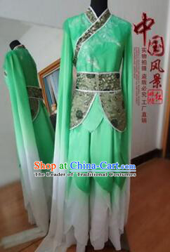 Chinese Traditional Costume Empresses in the Palace Water Sleeves Qi Xian nv Dancing Clothes Jing Hong Wu Green