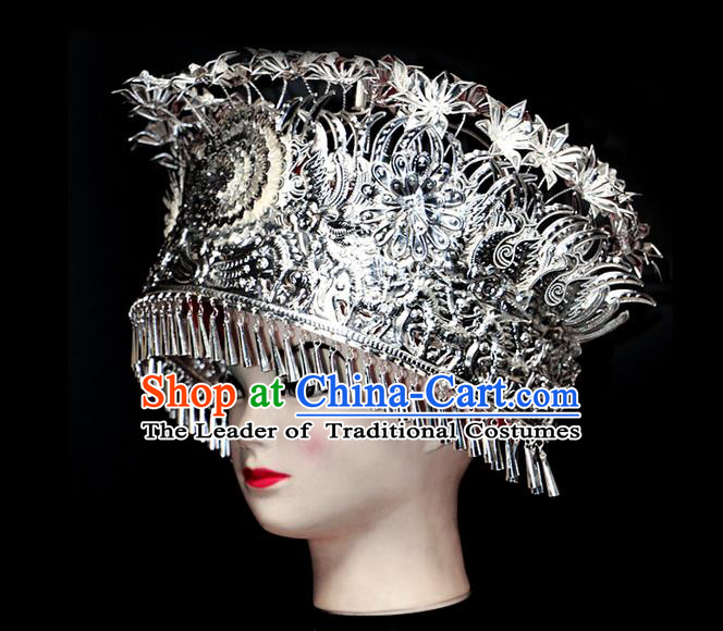 Chinese Traditional Miao Minority Hmong Folk Ethnic Hat, Miao Minority Sliver Crown Jewelry Accessories, Miao Headgear for Women