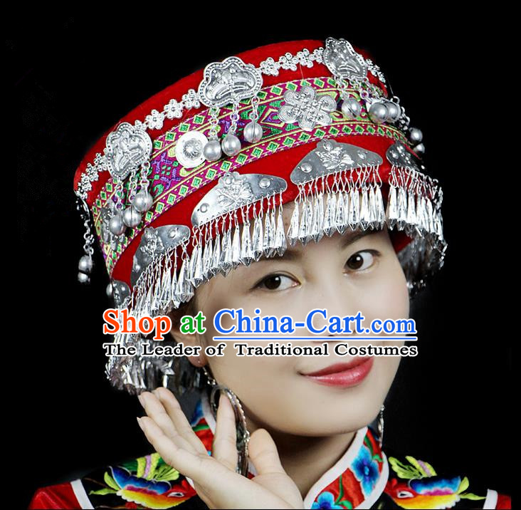 Chinese Traditional Miao Minority Hmong Folk Ethnic Hat, Tujia Minority Embroidery Bells Hat for Women