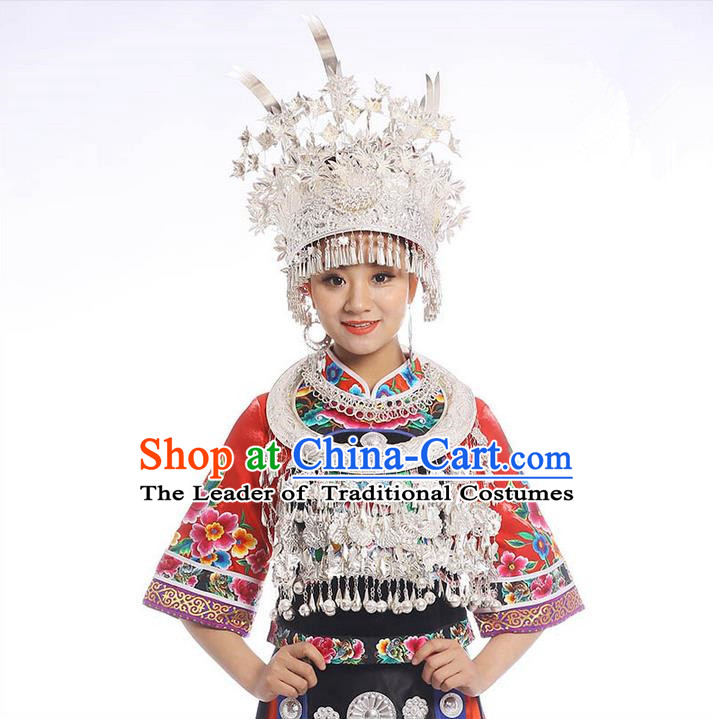 Chinese Traditional Miao Minority Hmong Folk Ethnic Necklace, Phoenix Silver Headwear Crown, Miao Jewelry Accessories Set for Women