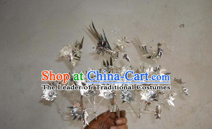 Chinese Traditional Miao Minority Hmong Folk Ethnic Hair Clip, Silver Headwear, Miao Jewelry Accessories Hairpin for Women