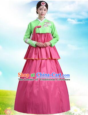 Korean Court Dress Girl Stage Costumes Show Traditional Clothes Dancing Children Ceremonial Dresses Full Dress Formal Attire Green Top Red Skirt