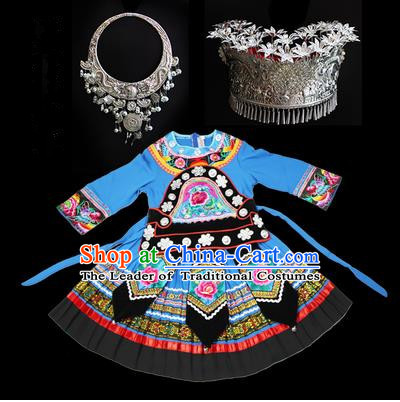 Traditional Chinese Miao Nationality Dancing Costume Accessories Set, Children Folk Dance Ethnic Cloth and Headwear, Chinese Tujia Minority Nationality Costume and Hat for Kids